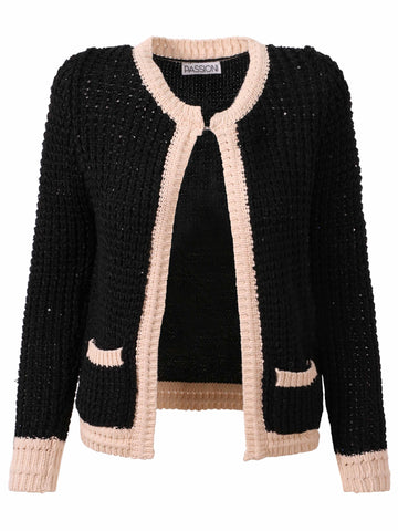 Passioni Blck/Cream Cardigan With Cream Borders