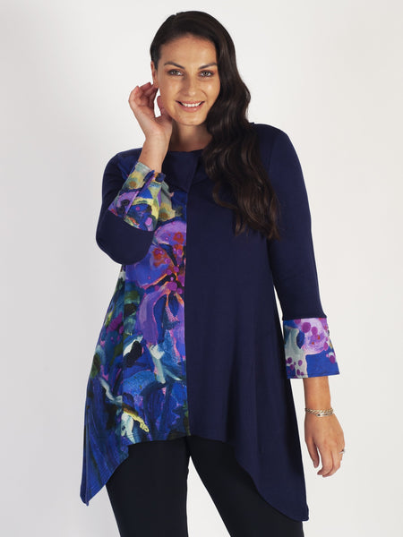 Purple Split Plain & Hibiscus Print Cowl Neck Top