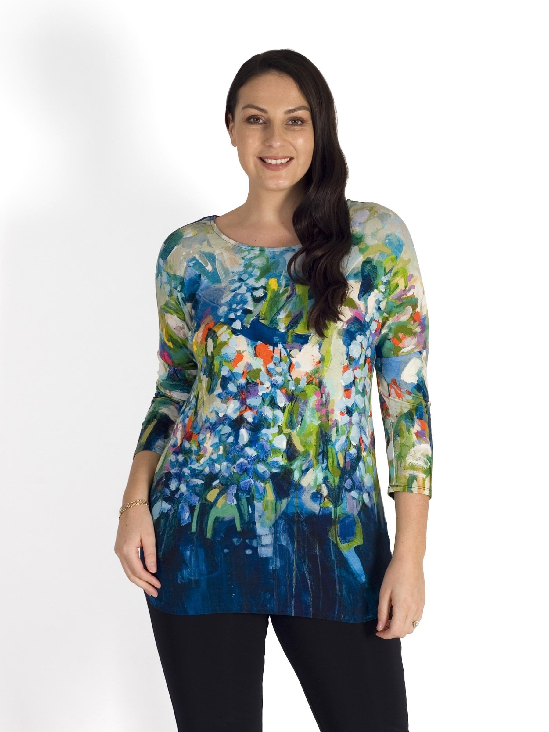 Blue/Multi Abstract Floral Print 3/4 Sleeve Tunic