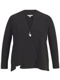 Black Jersey  single button Jacket with asymmetrical hem