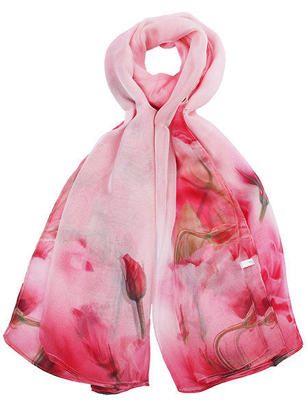 Light Pink Floral Printed Scarf