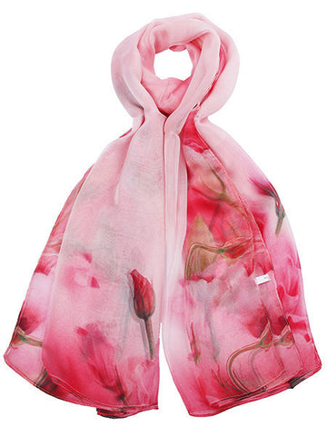 Light Pink Silk Floral Printed Scarf