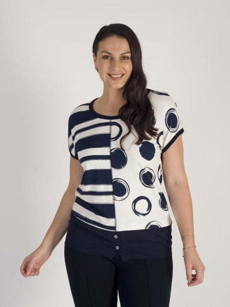 Michael Tyler Navy/Ivory Cap Sleeve Stripe & Spot Chiffon Trim Top