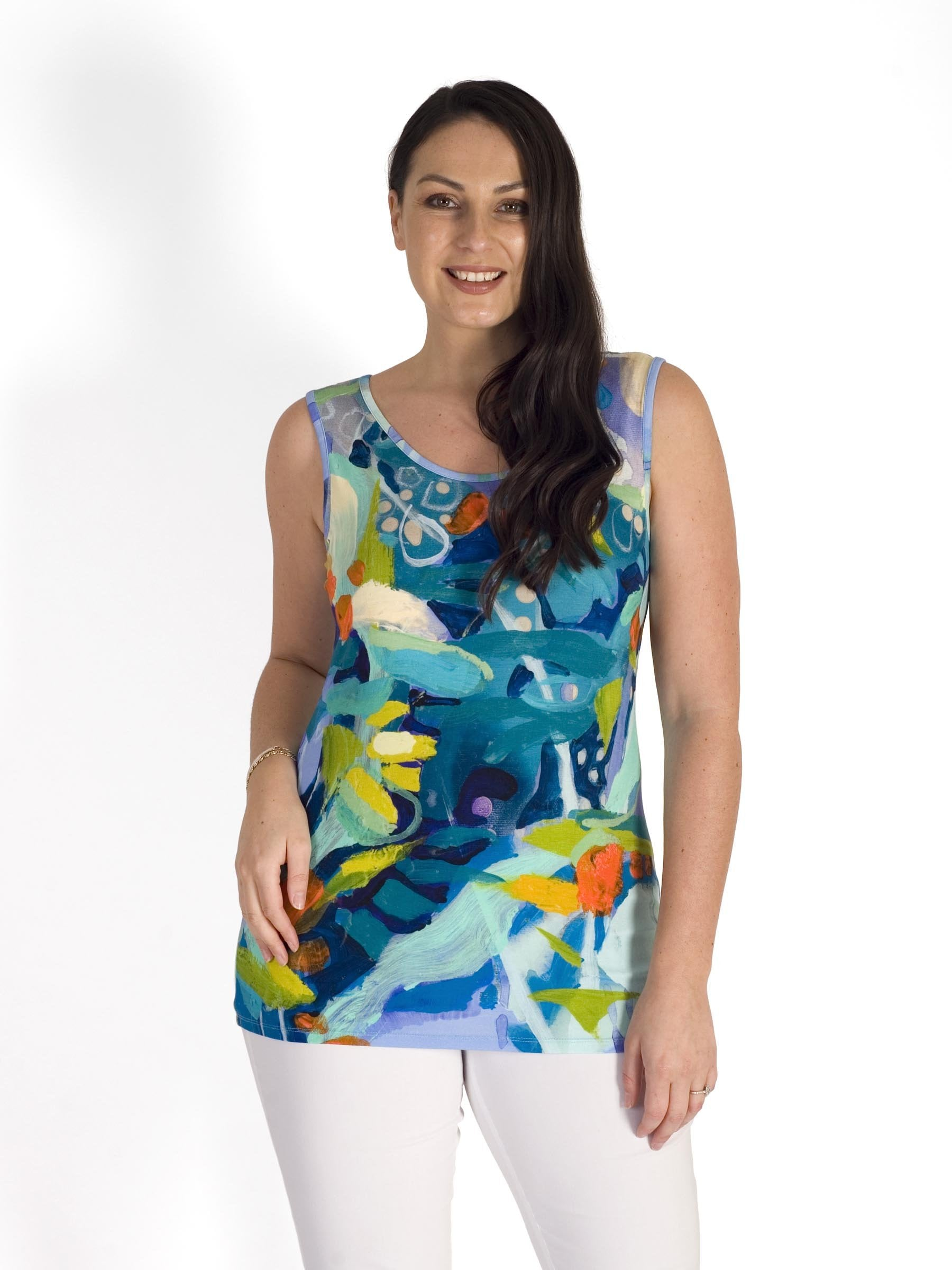 Blue/Multi Abstract Garden Print Camisole