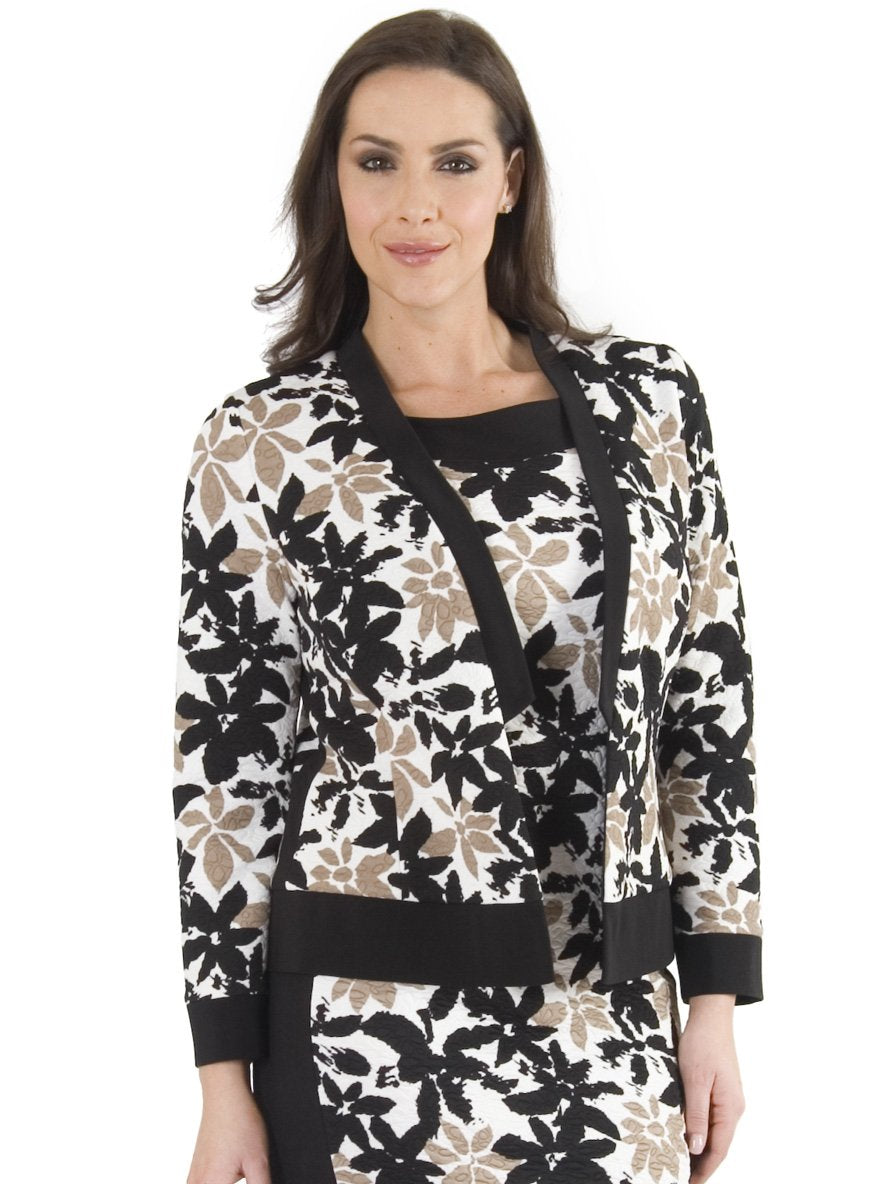 Ivory/Black Trim Floral Print Fancy Jersey Shrug