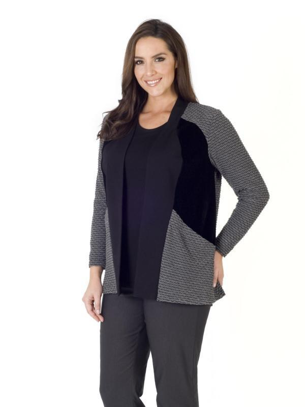 Black/Charcoal Mini Wavy Line & Velvet Trim Jersey Shrug