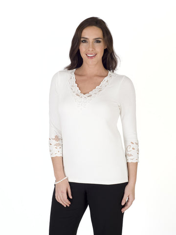 Ivory Embroidered Cutout V-Neck T-Shirt
