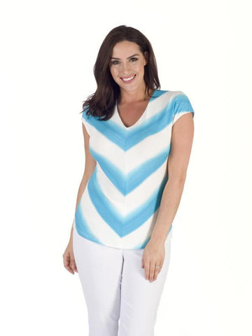 White/Turquoise Ombre Stripe Chevron Jersey Top