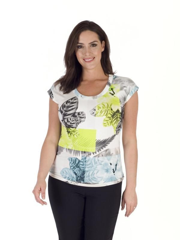 Turquoise/Lime Fern & Floral Print Jersey Top