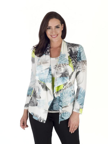 Turquoise/Lime Fern & Floral Print Jersey Shrug