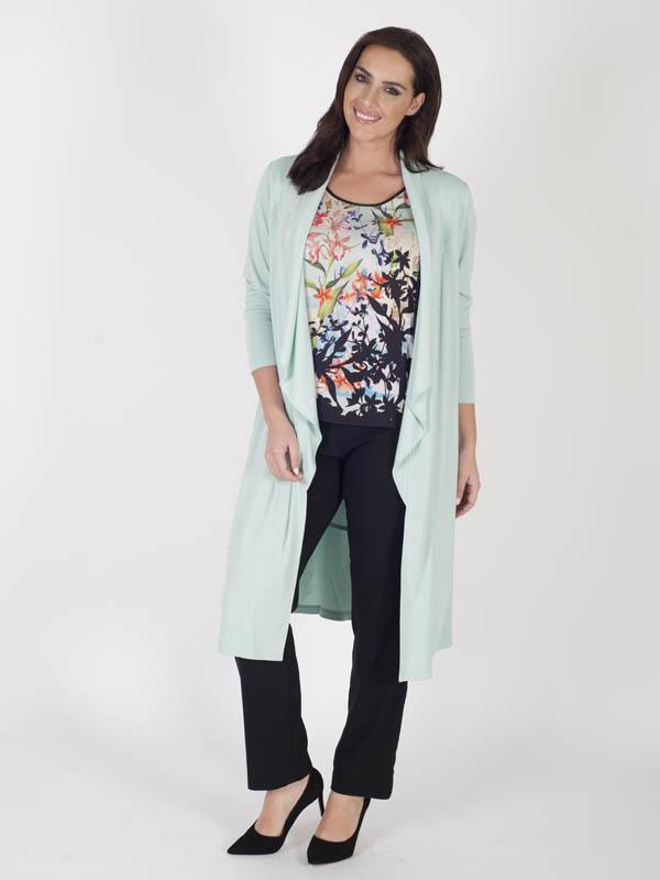 Aqua Shawl Collar Jersey Coat