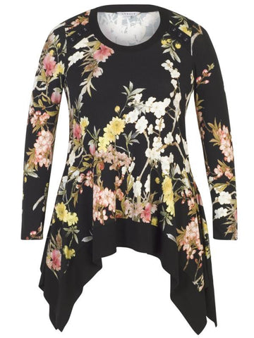 Black Oriental Floral Button Trim Jersey Tunic