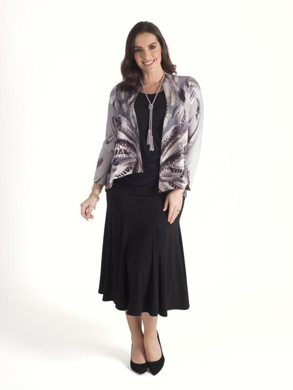 Chesca Direct Silver Grey Feather Print Asymmetric Jersey Jacket