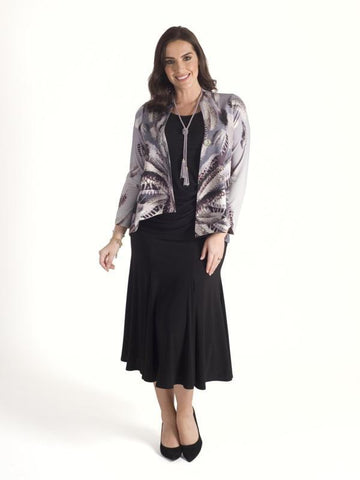 Silver Grey Feather Print Asymmetric Jersey Jacket