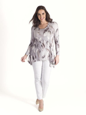 Silver Grey Feather Print Jersey Tunic