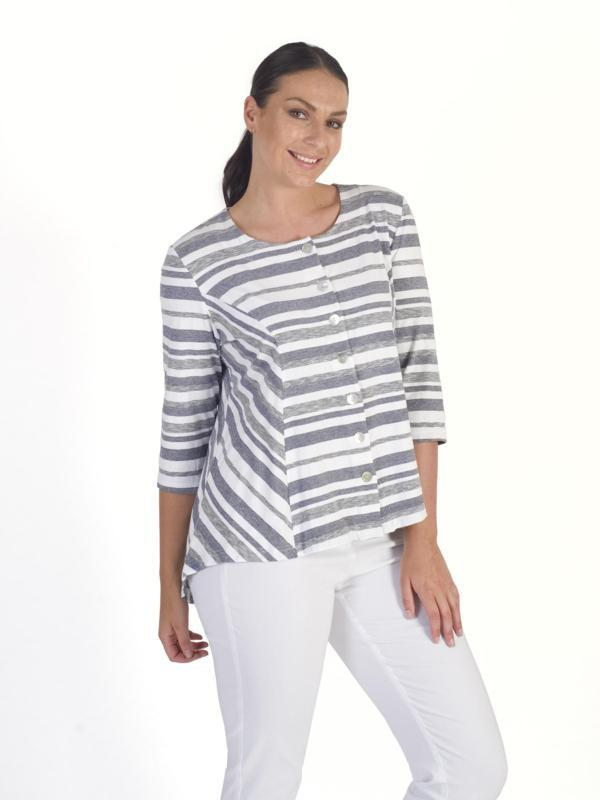 White Grey Stripe Jersey Tunic
