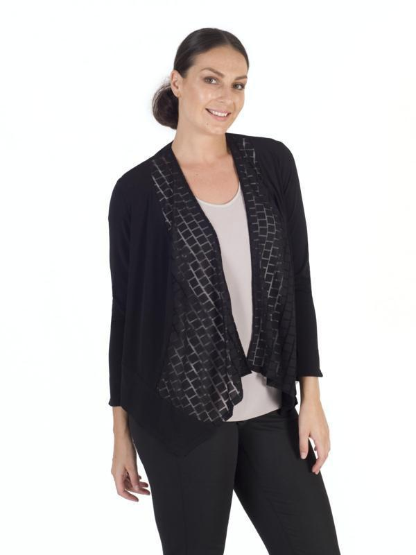 c6869a7c63a Black Squares Mesh Waterfall Jersey Shrug – Chesca