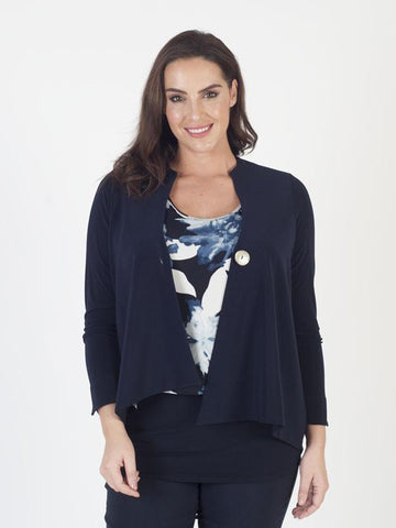 Navy Asymmetric Jersey Jacket