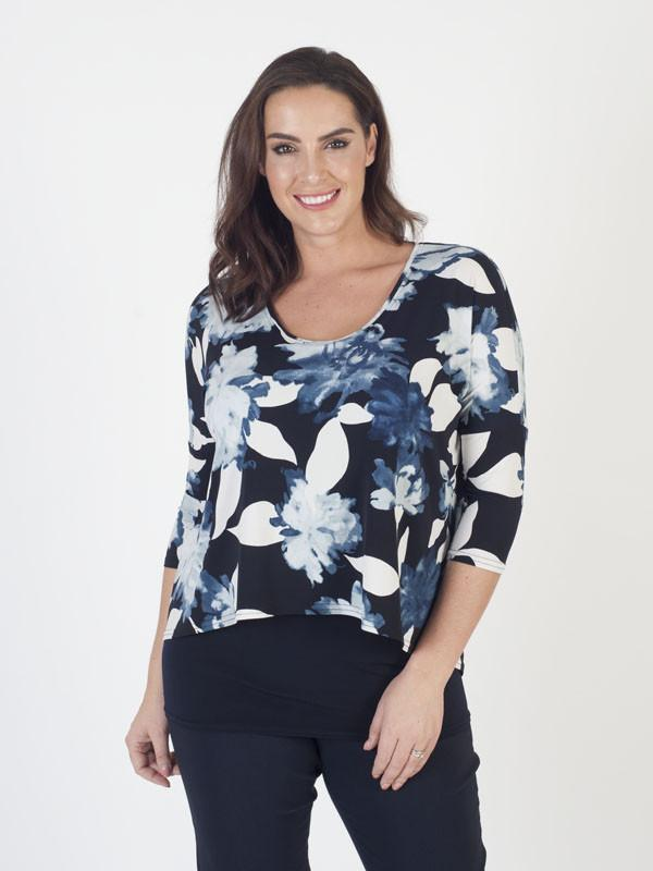 Chesca Direct Navy Floral Print Layered Jersey Tunic