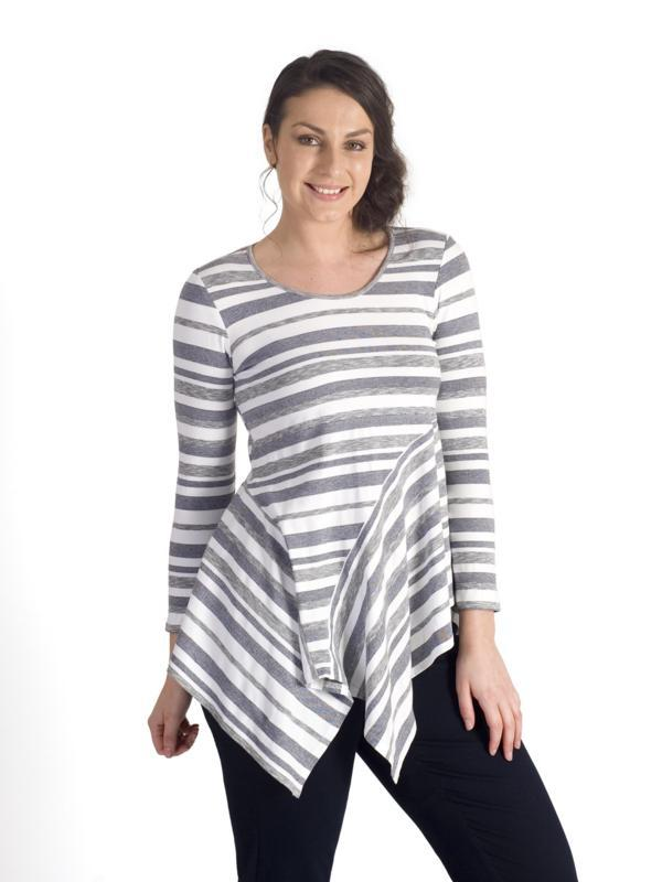 White/Grey Striped Jersey Top