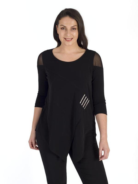 Black Mesh Shoulder Diamante Trim Jersey Top