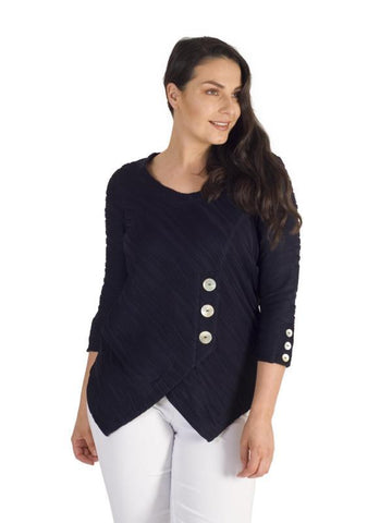 Navy Wavy Line Jacquard Button Trim Jersey Top