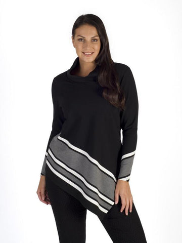 Blk/Grey Stripe Border Cowl Neck Top