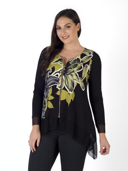 Lime/Blk Garland Floral Placement Mesh Trim Zip Top