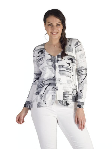 Ivory/Grey Brush Stroke Print Hook & Bar Trim Jersey Cardigan