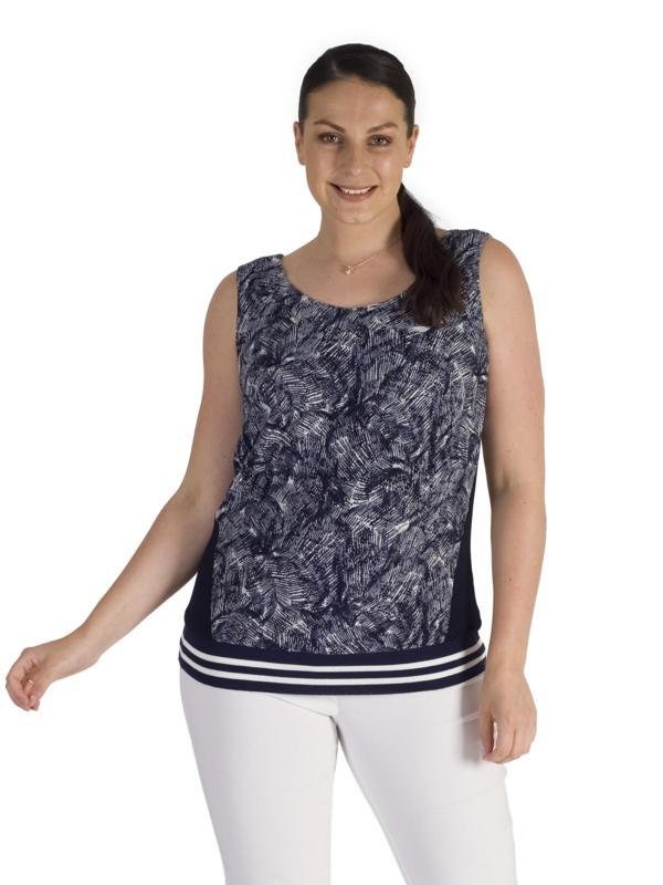 Navy Contrast Trim Printed Stretch Lace Ribbed Waist Cami