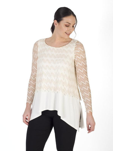 Gold Ivory Lace Layered Top