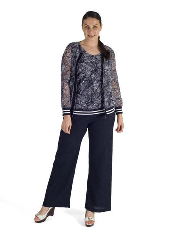 Navy Contrast Trim Printed Stretch Lace Zip Top With Rib Trim