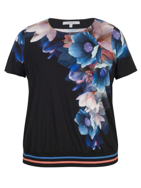 Blk/Coral Floral Trellis Border Rib Trim Short Sleeve Top