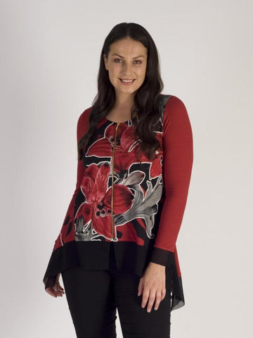 Ruby/Black Garland Floral Placement Mesh Trim Zip Top