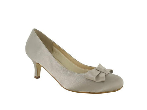 Taupe Satin Bow Detail 'Marilyn' D Fit Shoe