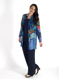 Blue/Multi Abstract Garden Print Long Sleeve Chiffon Shirt