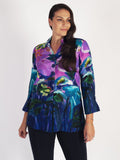 Purple Hibiscus Print Button 3/4 Sleeve Shirt