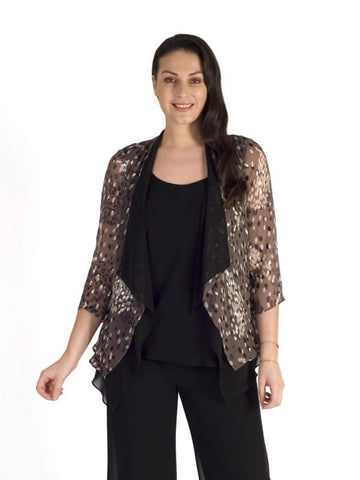 Mocha & Cream Cluster Spot Satin Devoree Contrast Chiffon Lined Shrug