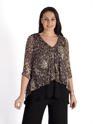 Mocha/Cream Cluster Spot Devoree Fancy Layered & Contrast Top