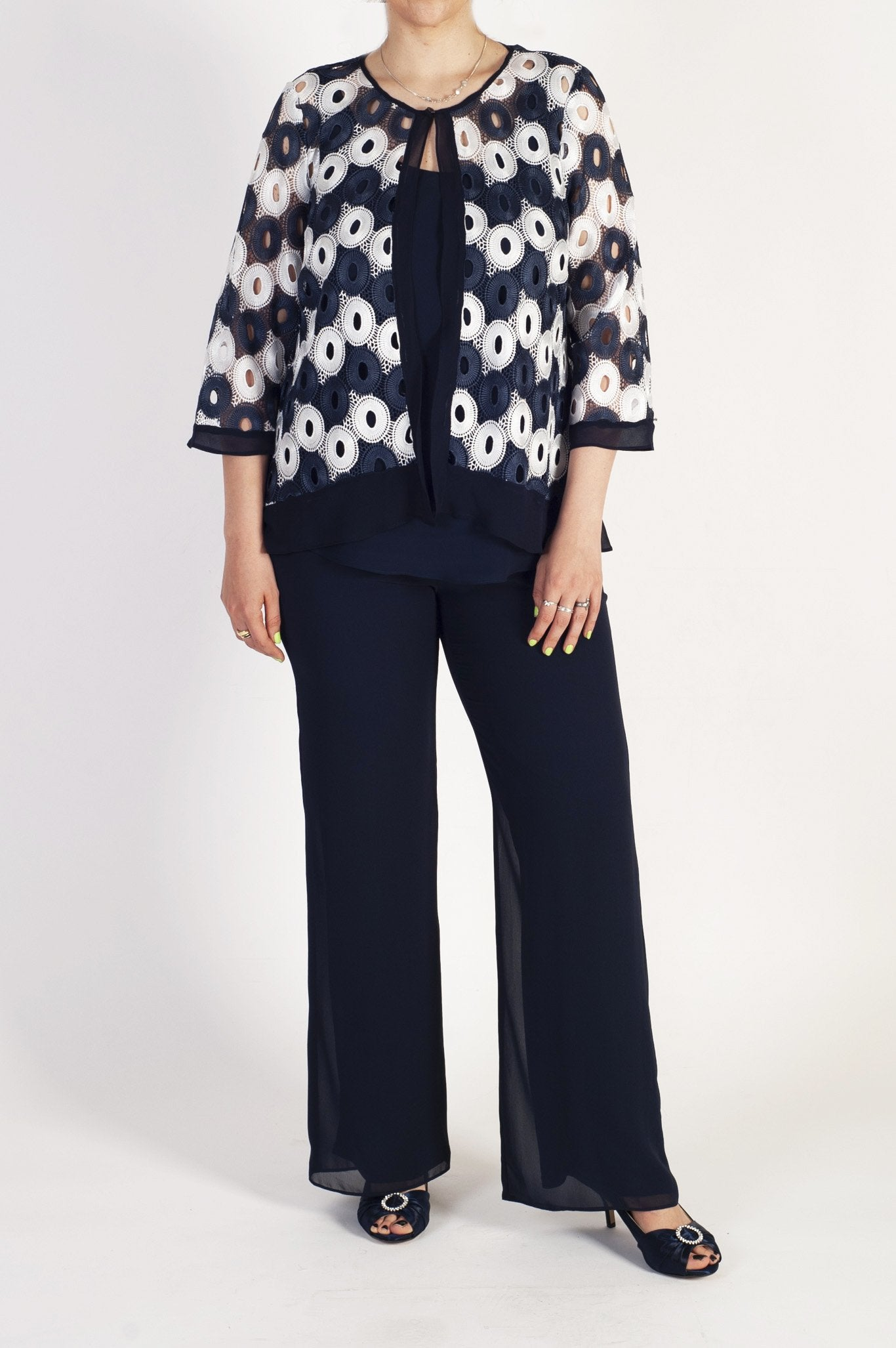Ivory/Navy Gupiere Lace Contrast Circles Jacket with Contrast Trim