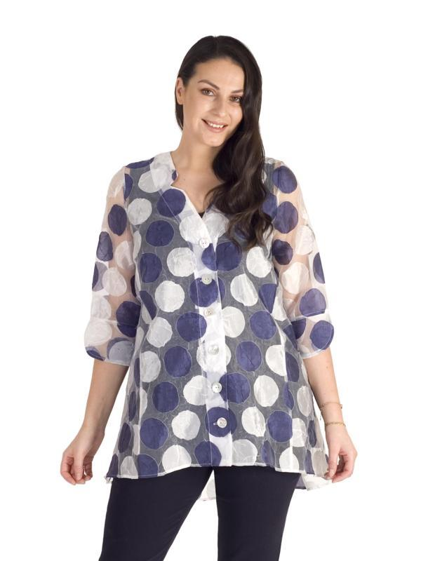 Ivory/Navy Notch Neck Spot Burnout Organza Shirt