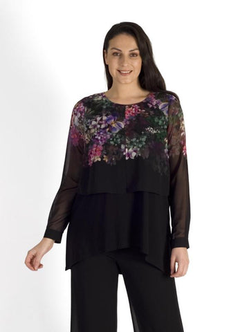 Black/Grape Wisteria Placement Print Double Layered Top