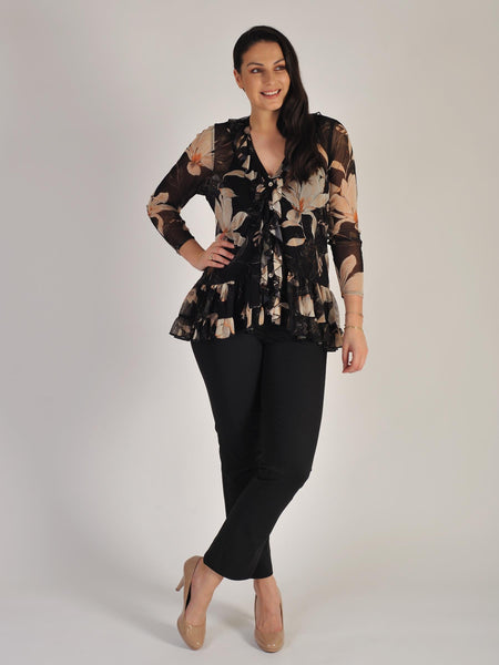 Black Magnolia Floral Frilly Mesh Top