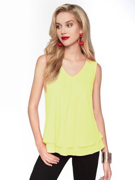 Frank Lyman Citrus V-Neck Cami With 2 Layers