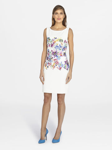 Tahari Floral Lace Panel Dress