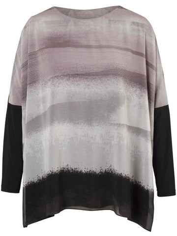 Pale Grey Abstract Stripe Border Print Jersey Tunic