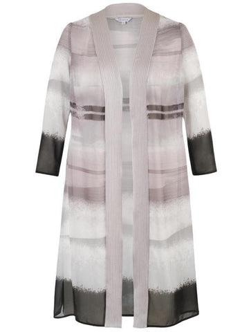 Pale Mink Trim Abstract Stripe Border Chiffon Coat