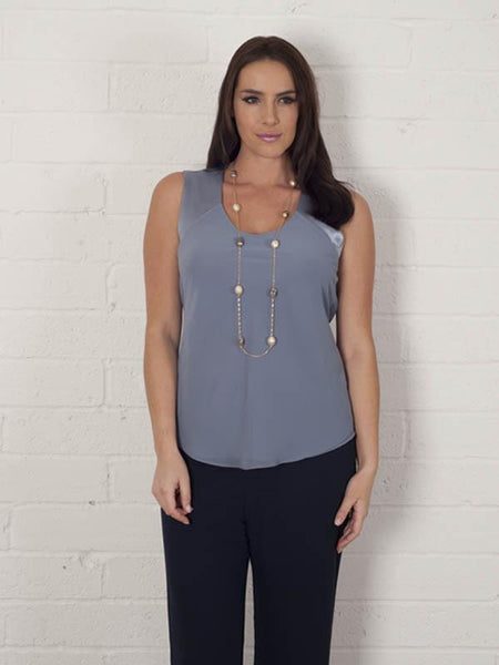 Steel Chiffon Camisole with Jersey Lining