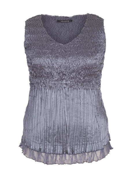 Steel Lace Trim Crush Pleat Cami