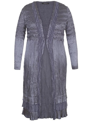 Steel Lace Trim Crush Pleat Coat